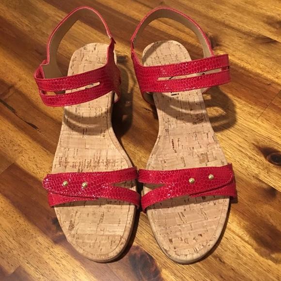 95844ab073 Vaneli Shoes | Red Cork Wedge Sandal Size 65 M | Poshmark
